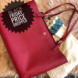 Authentic Tory Burch 🖤sale large red tote handbag